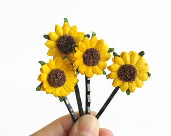 Sunflower Hair Pins - Made of yellow mulberry paper flowers and black colour bobby pins - Set of 4