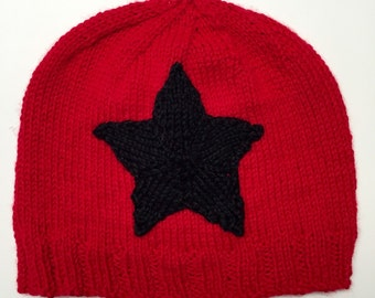 Red and Black Knitted Roller Derby Jammer Hat