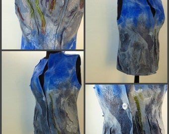 Nuno Felted Vest  XL. Alpaca, Silk and Merino Felted Sleeveless Jacket. Reversible Wearable Art in Shades of Blue-Grey . Felted Clothing.