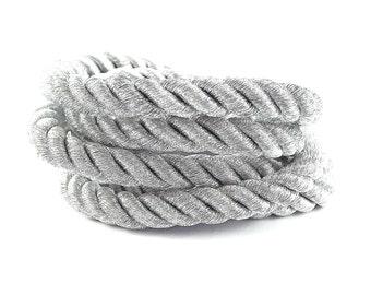 Metallic Silver 10mm Twisted Rayon Rope Braid Cord - 3 Ply Twist - 1 meters - 1.09 Yards