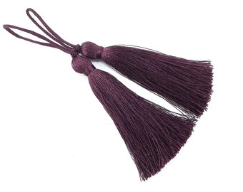 Long Deep Dusty Plum Silk Thread Tassels -  3 inches - 77mm  - 2 pc