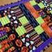 Halloween table runner, modern table runner, quilted patchwork table runner, Halloween decor, purple, green, orange, quiltsy handmade