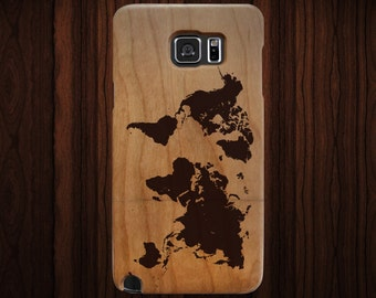 Wood Samsung Galaxy Note 5 case. World map engraving. Cherry wood.