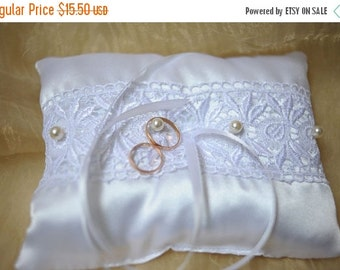 ON SALE Lace Satin Pillow bridal ring pillow wedding pillow lace pillow satin pillow ring bearer pillow white satin pillow wedding