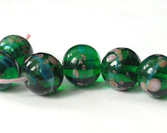 Glass Lampwork Bead 6 Beads Set Green lampwork beads