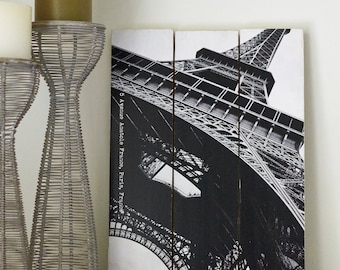 Vintage inspired photographic timber sign: Eiffel Tower