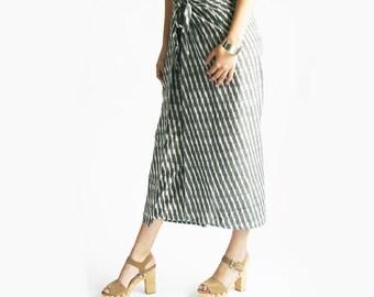 Wide Leg Cotton Pants - Grey Stripe Ikat Wrap Pants- Palazzo Pants- Wide Leg Trousers