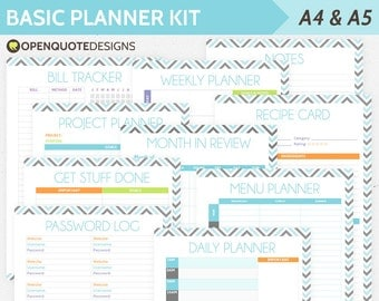 Printable Planner Inserts, Life Planner Kit, Daily Planner, Undated Weekly Planner, A5 Insert