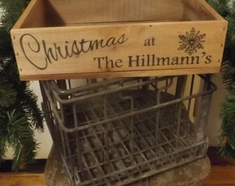 Christmas crate, laser engraved, holiday, home decor, gift