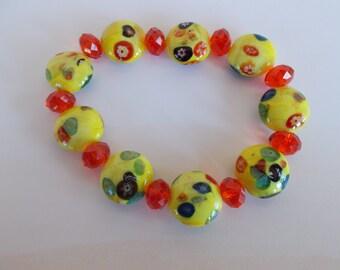 Vintage Yellow And Orange Craft Glass Beads //no 8