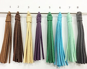 "Suede Tassels Long 3.8"" Tassel Pendants, Boho Tribal Necklace Tassels, Select Color"