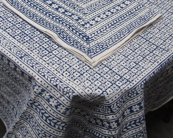 Blue Square and Flower Indian Block Print Tablecloth Cotton Eco Friendly