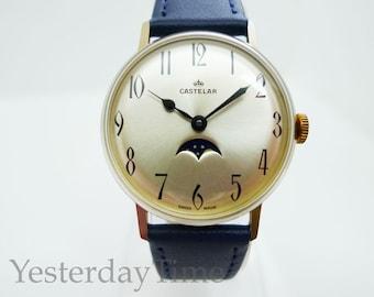 Castelar Amida Watch 1970's Mens Swiss Made Manual 1 Jewel Movement