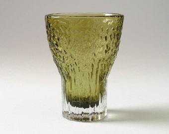 Vintage Retro Textured Sage Green Whitefriars Glass Chalice Vase #9835 - Geoffrey BAXTER 1970s