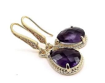 Gold Earrings - Purple Amethyst Glass Teardrops