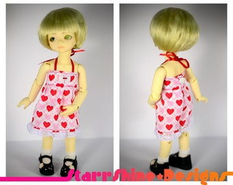 BJD YoSD 1/6 Doll clothing - Pink and Red Hearts