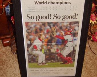 2007 Boston Red Sox original framed newspaper World Series Champions rustic cedar dark finish
