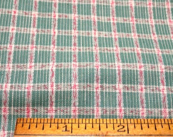 """Vintage 1930's Cotton 32"""" Wide WOVEN PLAID Pink Jadite Green White 32"""" Wide x 36"""" Long"""