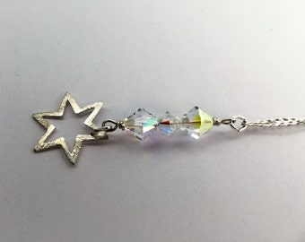 Sterling Silver Star Crystal Pendant on a Chain