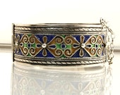 Vintage Hinged Bangle Bracelet Moroccan Berber Coin Silver With Blue Green And Tan Enamel 1 Inch Wide Boho Jewelry