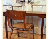 Vintage wooden children school chairs