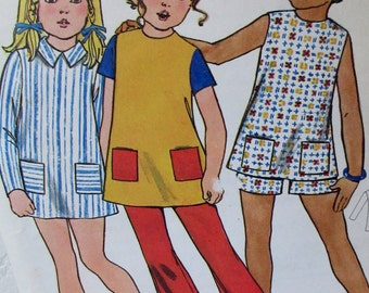 Vintage 1960s Toddler Dress & Pants or Shorts Butterick #6235  Childrens Size 4  ** Epsteam