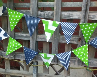 Navy and Lime Green -  bunting, garland flags or banner for child's bedroom, garden, birthday festive any ocassion