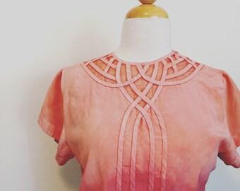 Silk Windowpane Blouse- Peach