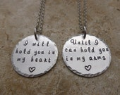 Long Distance Relationship Hand Stamped Jewelry Set I will hold you in my heart LDR going away Love going away gift deployment matching set
