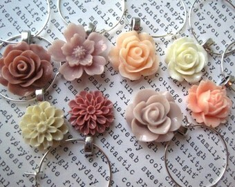 Wine Charms, Set of 8, Rose Smoke, Peach, Tan, Cream Party Decor, Wedding Favors, Hostess Gifts, Stocking Stuffer, Small Gift