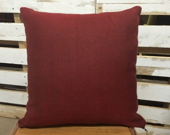 Red and Black Herringbone Pattern Square Cushion/Pillow Cover in Warwick Upholstery Fabric.