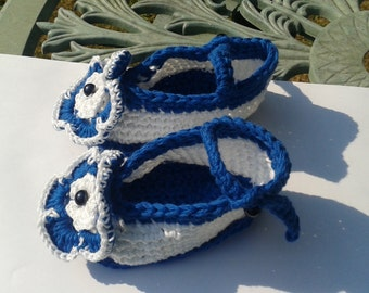 Shoes, ankle strap, 100% cotton, crochet, baby, royal blue with white flower, handmade, washable.