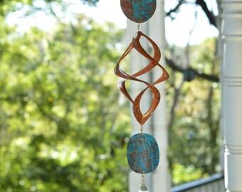 "BreezeWay Garden Wind Spinner ""Zodiac"" | Wind Art w/ Copper Patinas & Cyrstal Suncatcher | Solid Copper | Handcrafted in Texas"