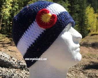 Crochet Classic Colorado Tweed Beanie- Baby, Child, Teen, Adult sizes, Colorado hat, Colorado flag hat, Colorado Hat, Ski, Skiing, Snowboard