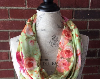 SALE-READY2SHIP- pink and green floral infinity scarf, circle scarf, teacher gift, loop scarf, Fall scarf