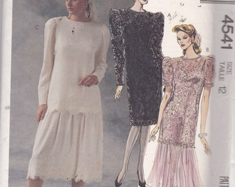 McCalls 4541 Vintage Pattern Womens Dropped Waist Dress or Tunic and Skirt Size 12 UNCUT