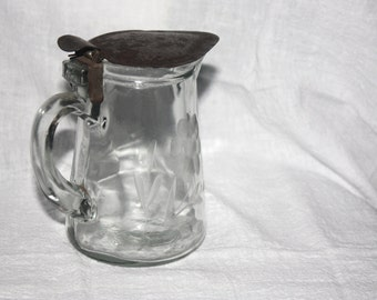 Antique Etched Glass Syrup Pitcher Pat 1910 with Metal Lid