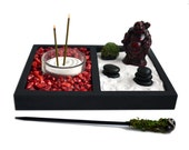 Mini Zen Garden // Laughing Buddha Statue // Incense Burner // Desk Accessory // Red Coral // DIY Kit // Meditation / Tealight Candle Holder