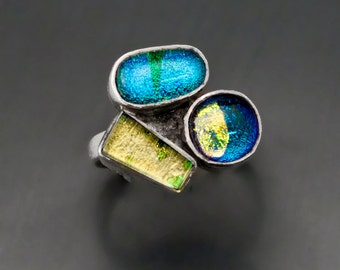 Dichroic Glass 3 Piece Ring