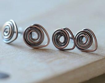 Handmade Copper Swirl Stud Style Earring Earwires