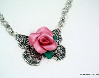 Pink Rose butterfly necklace, Silver Necklace, handmade rose, Howling Dog Jewelry