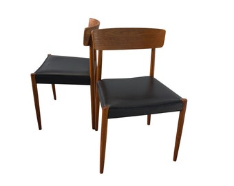 Pair Teak Dining Chairs Danish Modern Mid Century