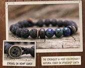 Men's Bracelet // Healing Tibetan Mala, Yoga Tool, Buddhist Meditation Jewelry // Hemp, Lava Rock & Chrysocolla // Eco-Friendly, Wood, Vegan