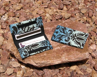 Blue Filigree Business Cardholder/Mini-Wallet