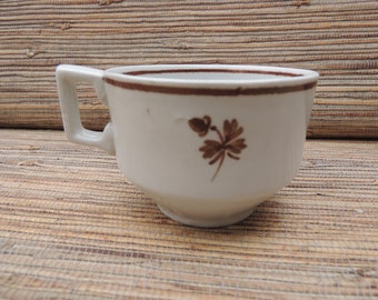 Antique Brown Tea Leaf Ironstone Cup, Copper Tea Leaf, Hand Painted