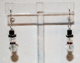 Swarovski Crystal Beaded Snowman Earrings