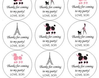 12 Paris Stickers, Thank You Stickers, Merci, Paris Theme, Paris Birthday, Paris Labels, Goodie Bag Labels