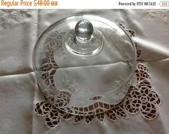25% off sale Vintage Glass Cake Plate Dome Food Dome Vintage Glass Dome