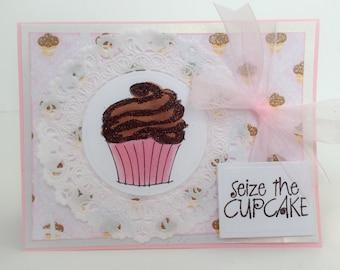 Handmade Card, Birthday Card, Cupcake Card, Cupcakes, Friendship Card, Thinking of You, Baking, Sweet Card, Kids Birthday Card, Chocolate
