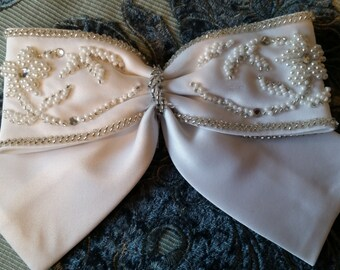 Beaded White Satin Bridal Bow - With Seed Pearls And Rhinestones